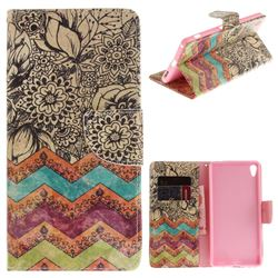 Wave Flower PU Leather Wallet Case for Sony Xperia XA Ultra