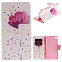 Purple Orchid PU Leather Wallet Case for Sony Xperia XA Ultra