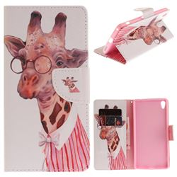 Pink Giraffe PU Leather Wallet Case for Sony Xperia XA Ultra