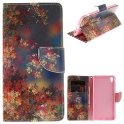 Colored Flowers PU Leather Wallet Case for Sony Xperia XA Ultra