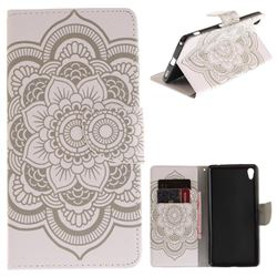 White Flowers PU Leather Wallet Case for Sony Xperia XA Ultra