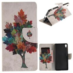 Colored Tree PU Leather Wallet Case for Sony Xperia XA Ultra
