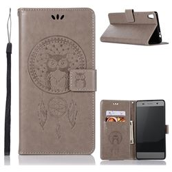 Intricate Embossing Owl Campanula Leather Wallet Case for Sony Xperia XA Ultra - Grey