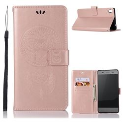 Intricate Embossing Owl Campanula Leather Wallet Case for Sony Xperia XA Ultra - Rose Gold