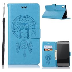 Intricate Embossing Owl Campanula Leather Wallet Case for Sony Xperia XA Ultra - Blue