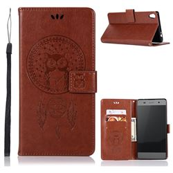 Intricate Embossing Owl Campanula Leather Wallet Case for Sony Xperia XA Ultra - Brown