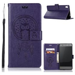 Intricate Embossing Owl Campanula Leather Wallet Case for Sony Xperia XA Ultra - Purple