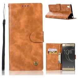 Luxury Retro Leather Wallet Case for Sony Xperia XA Ultra - Golden