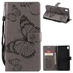 Embossing 3D Butterfly Leather Wallet Case for Sony Xperia XA Ultra - Gray