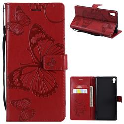 Embossing 3D Butterfly Leather Wallet Case for Sony Xperia XA Ultra - Red