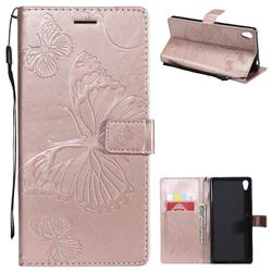 Embossing 3D Butterfly Leather Wallet Case for Sony Xperia XA Ultra - Rose Gold