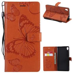 Embossing 3D Butterfly Leather Wallet Case for Sony Xperia XA Ultra - Orange