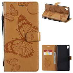 Embossing 3D Butterfly Leather Wallet Case for Sony Xperia XA Ultra - Yellow