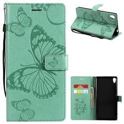 Embossing 3D Butterfly Leather Wallet Case for Sony Xperia XA Ultra - Green