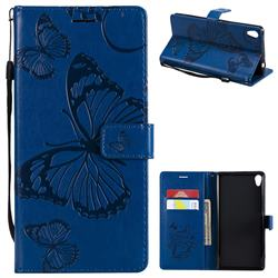 Embossing 3D Butterfly Leather Wallet Case for Sony Xperia XA Ultra - Blue