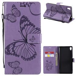 Embossing 3D Butterfly Leather Wallet Case for Sony Xperia XA Ultra - Purple