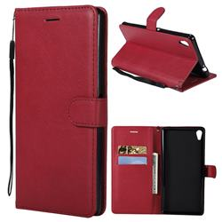 Retro Greek Classic Smooth PU Leather Wallet Phone Case for Sony Xperia XA Ultra - Red