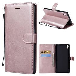 Retro Greek Classic Smooth PU Leather Wallet Phone Case for Sony Xperia XA Ultra - Rose Gold