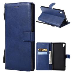 Retro Greek Classic Smooth PU Leather Wallet Phone Case for Sony Xperia XA Ultra - Blue