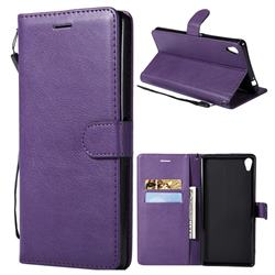 Retro Greek Classic Smooth PU Leather Wallet Phone Case for Sony Xperia XA Ultra - Purple