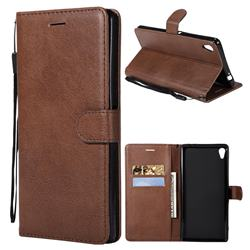 Retro Greek Classic Smooth PU Leather Wallet Phone Case for Sony Xperia XA Ultra - Brown