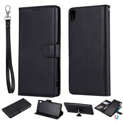 Retro Greek Detachable Magnetic PU Leather Wallet Phone Case for Sony Xperia XA Ultra - Black