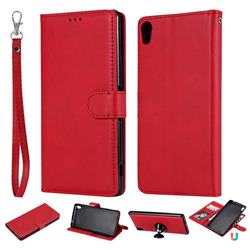 Retro Greek Detachable Magnetic PU Leather Wallet Phone Case for Sony Xperia XA Ultra - Red