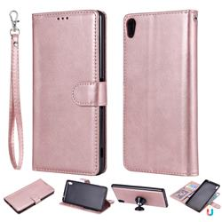 Retro Greek Detachable Magnetic PU Leather Wallet Phone Case for Sony Xperia XA Ultra - Rose Gold