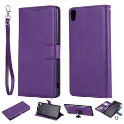 Retro Greek Detachable Magnetic PU Leather Wallet Phone Case for Sony Xperia XA Ultra - Purple