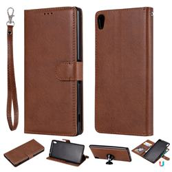 Retro Greek Detachable Magnetic PU Leather Wallet Phone Case for Sony Xperia XA Ultra - Brown