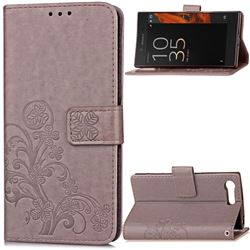 Embossing Imprint Four-Leaf Clover Leather Wallet Case for Sony Xperia X Compact - Gray