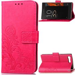 Embossing Imprint Four-Leaf Clover Leather Wallet Case for Sony Xperia X Compact - Rose
