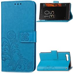 Embossing Imprint Four-Leaf Clover Leather Wallet Case for Sony Xperia X Compact - Blue