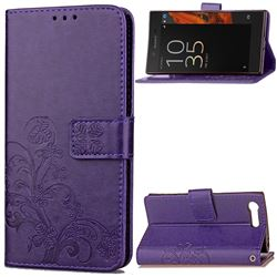 Embossing Imprint Four-Leaf Clover Leather Wallet Case for Sony Xperia X Compact - Purple