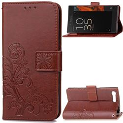 Embossing Imprint Four-Leaf Clover Leather Wallet Case for Sony Xperia X Compact - Brown