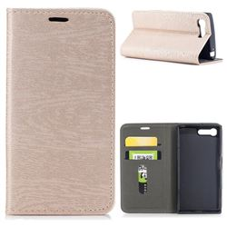 Tree Bark Pattern Automatic suction Leather Wallet Case for Sony Xperia X Compact X Mini - Champagne Gold