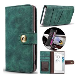 Luxury Vintage Split Separated Leather Wallet Case for Sony Xperia X Compact X Mini - Dark Green