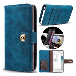 Luxury Vintage Split Separated Leather Wallet Case for Sony Xperia X Compact X Mini - Navy Blue