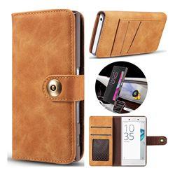 Luxury Vintage Split Separated Leather Wallet Case for Sony Xperia X Compact X Mini - Khaki
