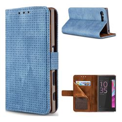 Luxury Vintage Mesh Monternet Leather Wallet Case for Sony Xperia X Compact X Mini - Blue