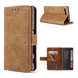 Luxury Vintage Mesh Monternet Leather Wallet Case for Sony Xperia X Compact X Mini - Brown