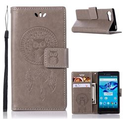 Intricate Embossing Owl Campanula Leather Wallet Case for Sony Xperia X Compact X Mini - Grey