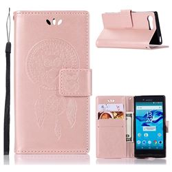 Intricate Embossing Owl Campanula Leather Wallet Case for Sony Xperia X Compact X Mini - Rose Gold