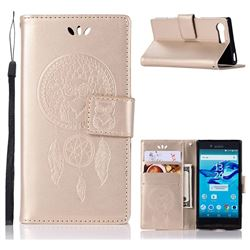 Intricate Embossing Owl Campanula Leather Wallet Case for Sony Xperia X Compact X Mini - Champagne