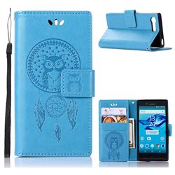 Intricate Embossing Owl Campanula Leather Wallet Case for Sony Xperia X Compact X Mini - Blue