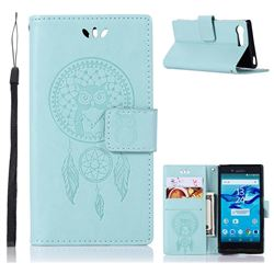 Intricate Embossing Owl Campanula Leather Wallet Case for Sony Xperia X Compact X Mini - Green