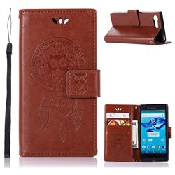 Intricate Embossing Owl Campanula Leather Wallet Case for Sony Xperia X Compact X Mini - Brown