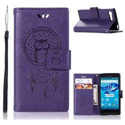 Intricate Embossing Owl Campanula Leather Wallet Case for Sony Xperia X Compact X Mini - Purple