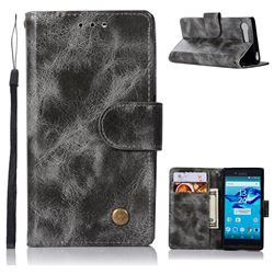 Luxury Retro Leather Wallet Case for Sony Xperia X Compact X Mini - Gray