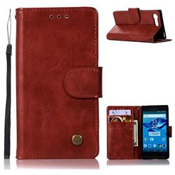 Luxury Retro Leather Wallet Case for Sony Xperia X Compact X Mini - Wine Red